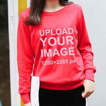 Custom Women's Red Crew Neck Sweater