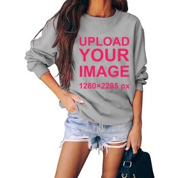 Custom Women's Gray Crew Neck Sweater