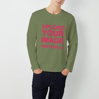 Custom Men's Round Neck Long Sleeve T-shirt Army Green