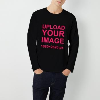 Custom Men's Round Neck Long Sleeve T-shirt Black