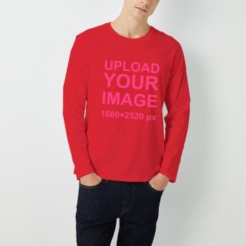 Custom Men's Round Neck Long Sleeve T-shirt Bright Red