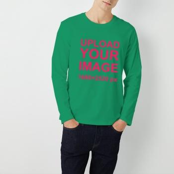 Custom Men's Round Neck Long Sleeve T-shirt Bright Grass Green