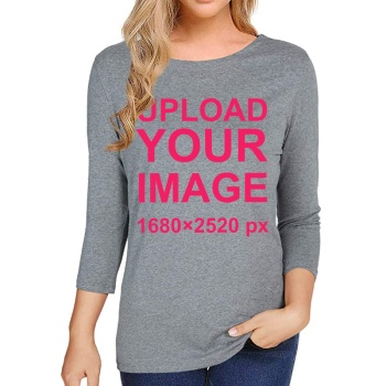 Custom Women's Long Sleeve T-shirt Gray