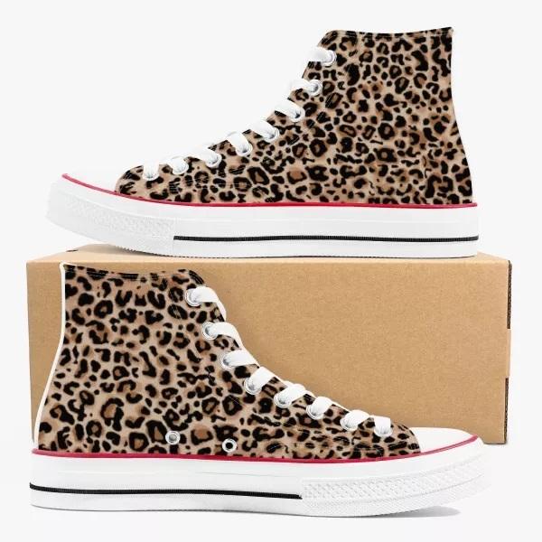Leopard Print High Top Canvas Shoes
