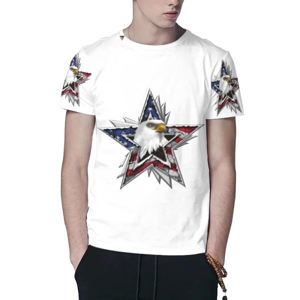Flag Eagle Star Custom All Surface  Men's T-shirt