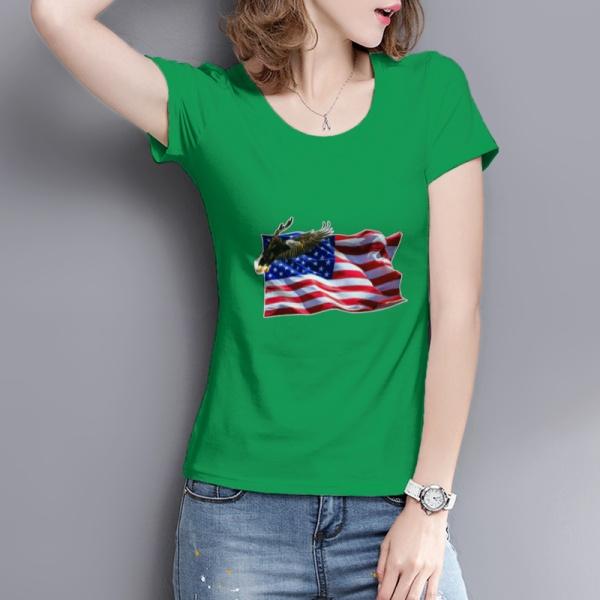 Flag Soaring Eagle Custom Women's T-shirt