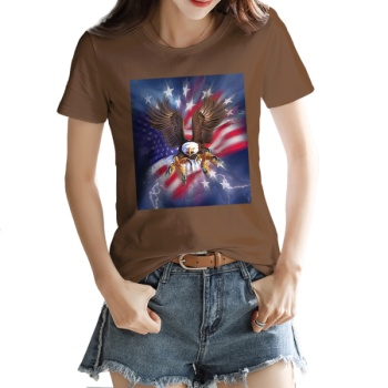 independence Day Custom Women's T-shirt Brown