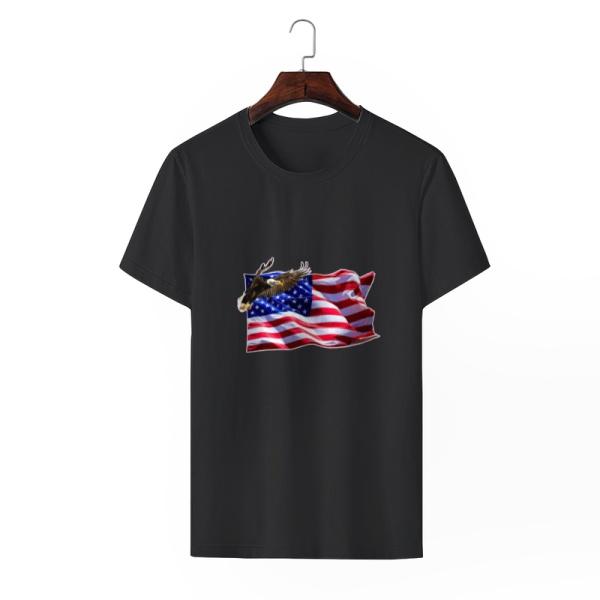Flag Soaring Eagle Custom Men's Crew-Neckone T-shirt Black