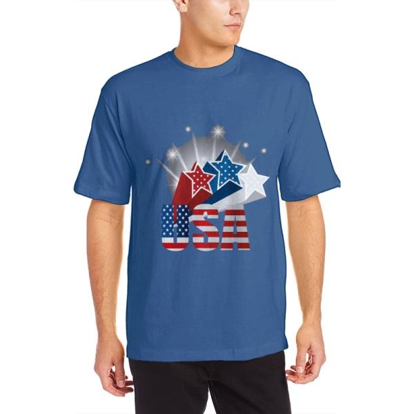 The stars Custom Men's Crew-Neckone T-shirt Navy Sapphir Blue
