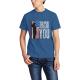 Patriotic Flag Custom Men's Crew-Neckone T-shirt Navy Sapphir Blue