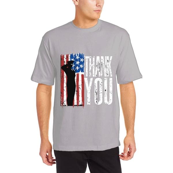 Patriotic Flag Custom Men's Crew-Neckone T-shirt Gray