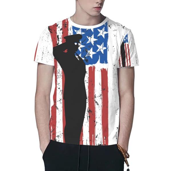 Patriotic Flag Custom All Surface  Men's T-shirt
