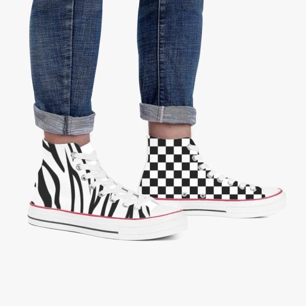 Tri-Panel  Checkerboard Zebra High Top Canvas Shoes